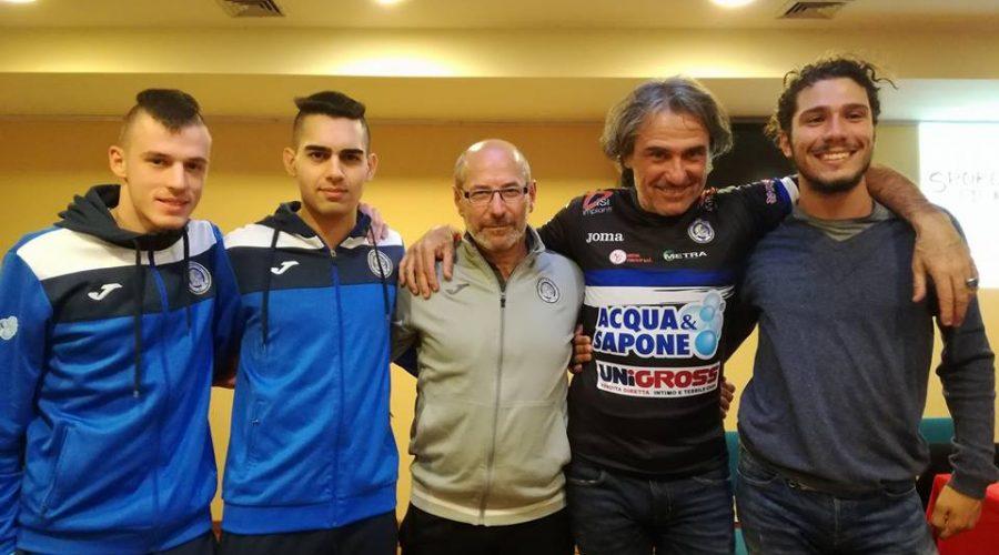 La delegazione nerazzurra con Franco e Andrea Antonello